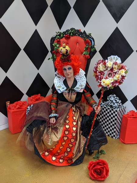 red queen ready for a tea party at queen of hearts las vegas