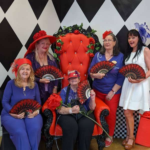 red hat society tea party at queen of hearts las vegas