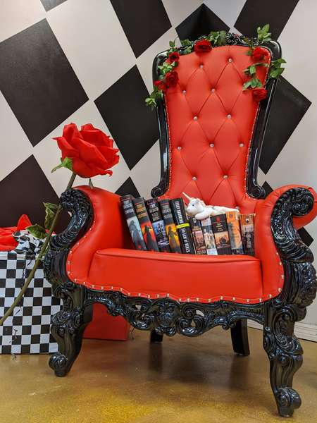 chair and books at queen of hearts las vegas