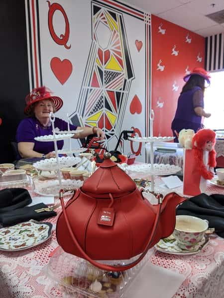 red hat ladies teapot purse