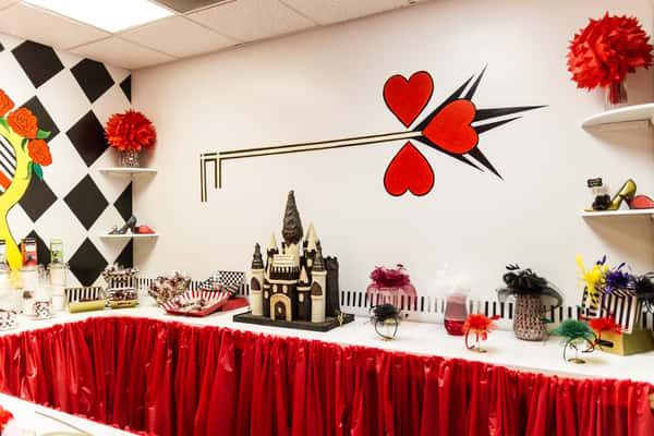 interior tea set up at queen of hearts las vegas