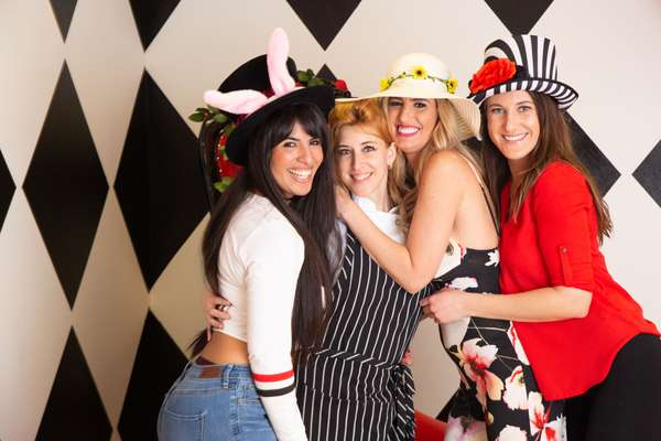 girls at a tea party at queen of hearts in las vegas