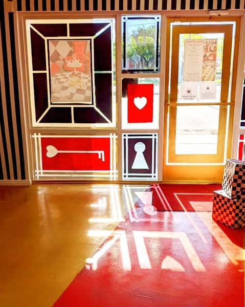 view from inside to door at queen of hearts las vegas