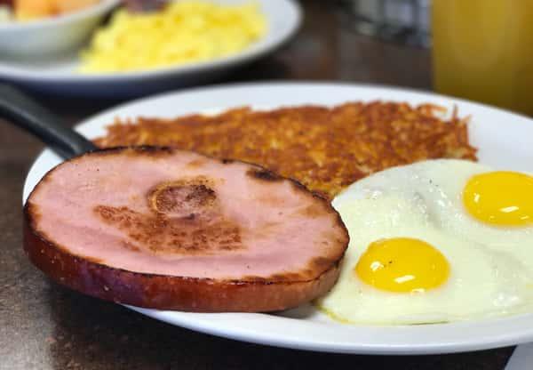 Ham Steak and Eggs