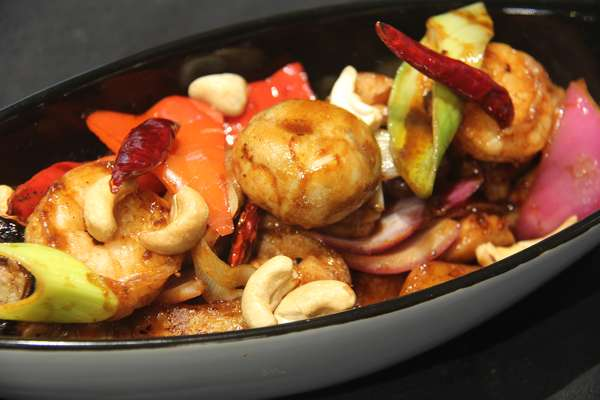 Kung Pao Chicken and Prawns