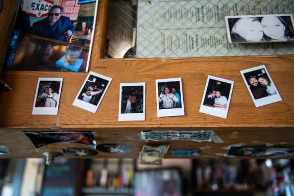 photographs on bar