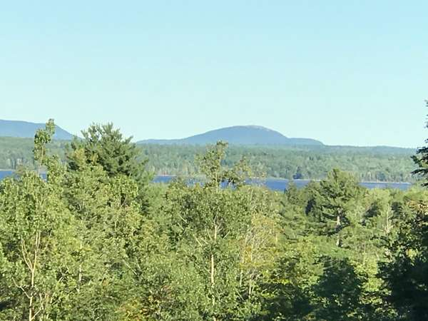 A view of Graham Lake and Tunk Mountain from the back deck of OGS