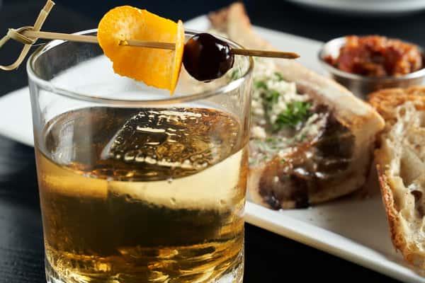 cocktail with bone marrow sandwich