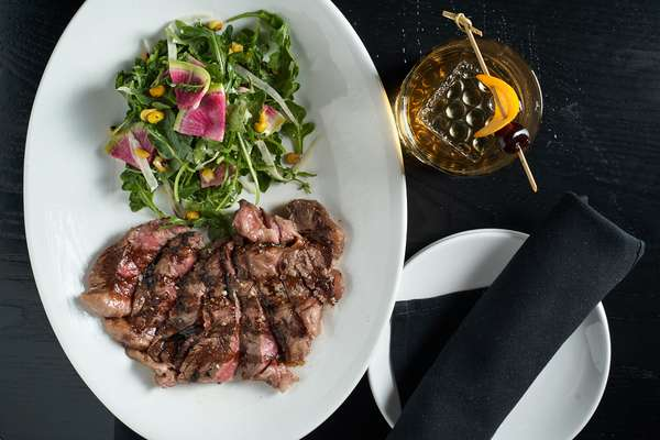 steak and cocktail
