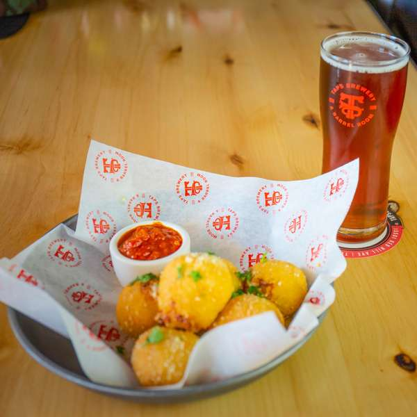 cheese balls and beer