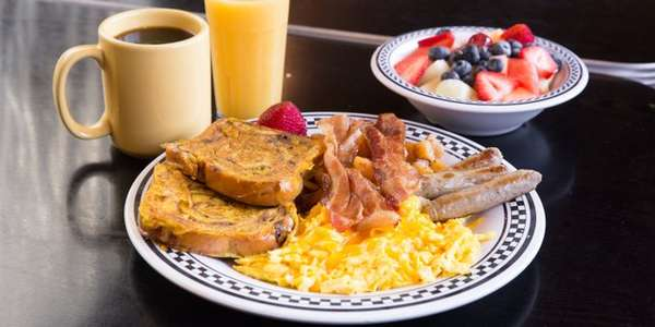 breakfast plate with fruit bowl and coffee