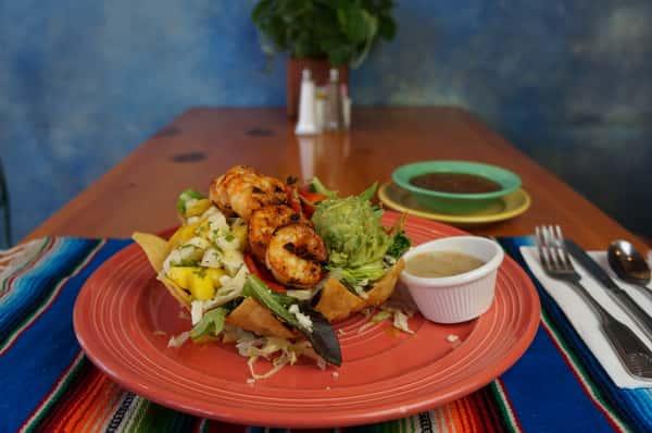 shrimp, guacamole sandwich