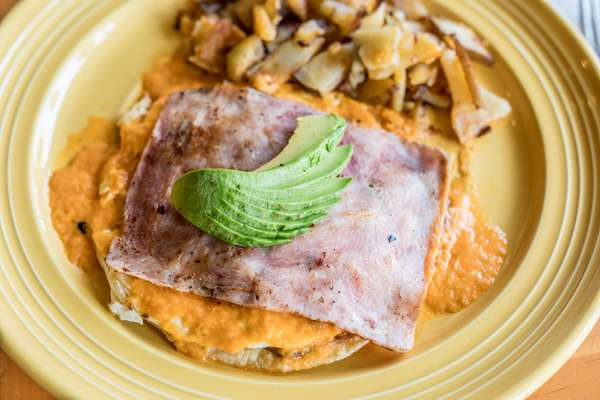 ham, hashbrowns and avocado plate