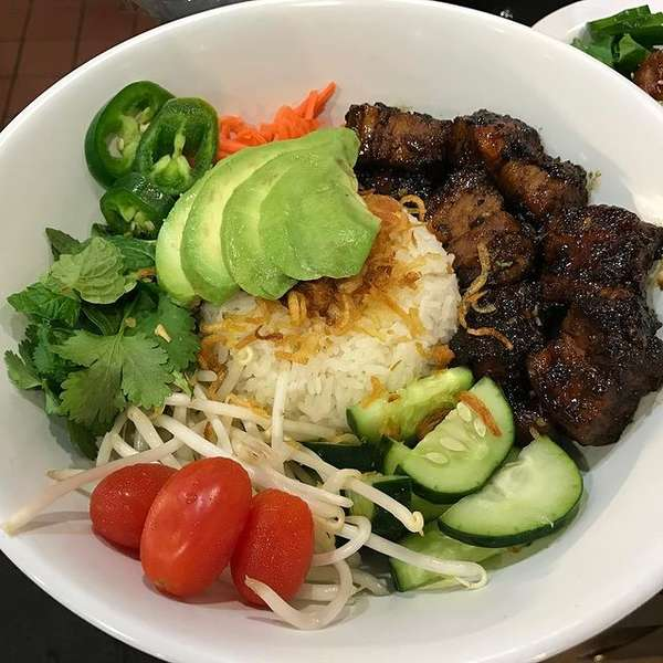 rice, meat, and veggie bowl