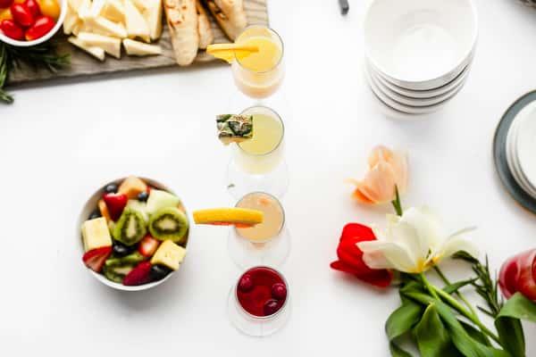 fruit salad and cocktails