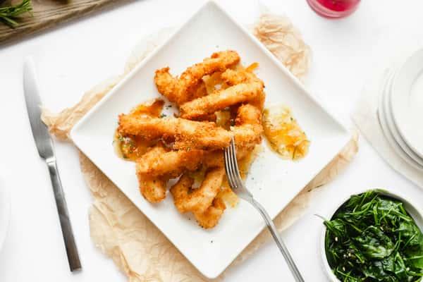 corn, baked potato and fish