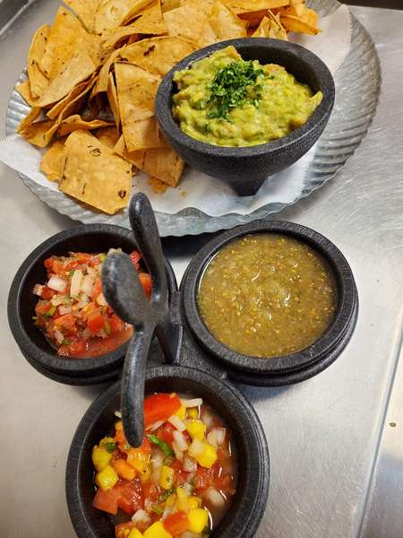 Guacamole with Chips and Trio House Salsa