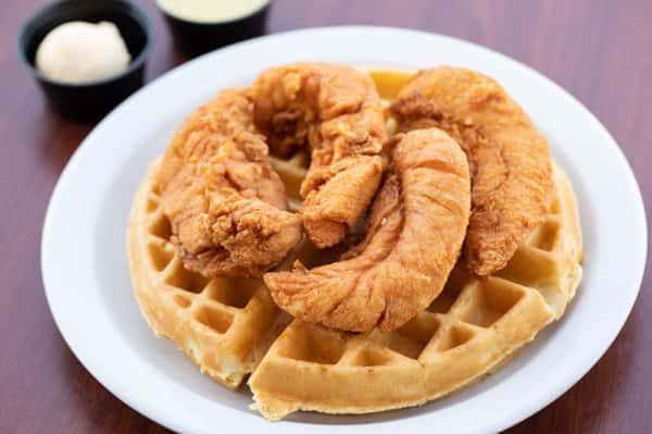 Hand Breaded Chicken Strips & Waffle