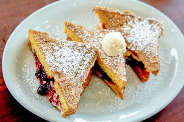 Raspberry or Caramel Cheesecake Stuffed French Toast