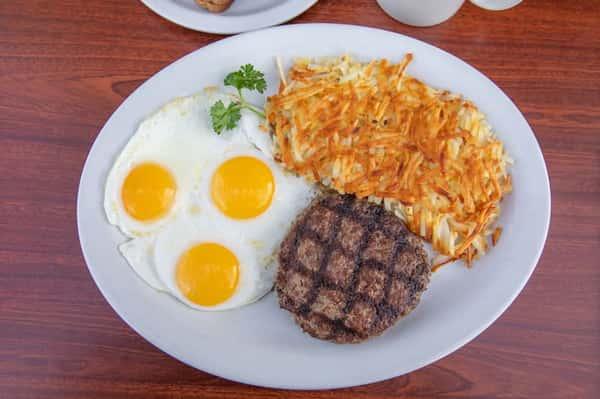 Hamburger Steak & Eggs