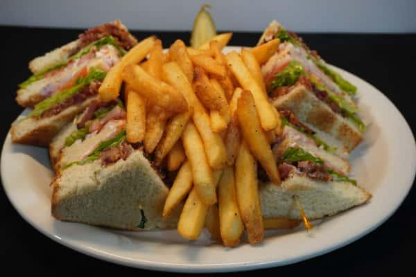 Triple Decker Club with fries