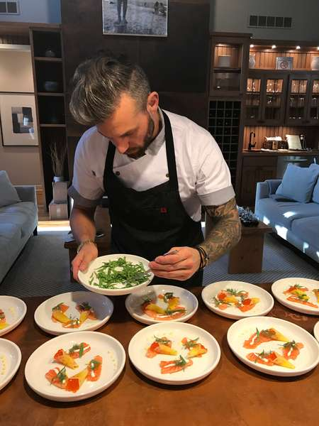 chef preparing plates