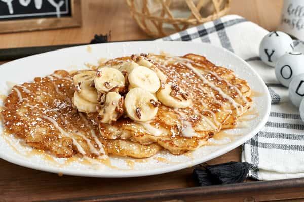 Banana Pecan Caramel Pancakes