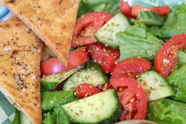 salad and bread triangles