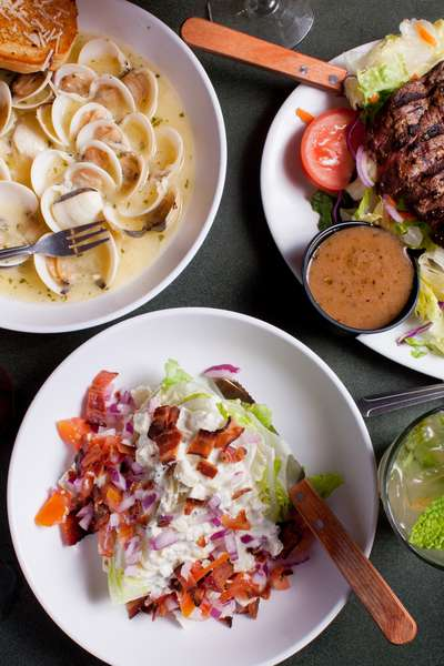 Steak, pasta, salad
