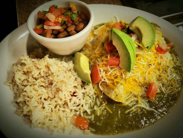 Stacked Carnitas Enchilada