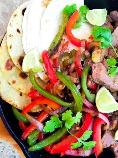 Steak Fajitas with Spanish Rice and Beans