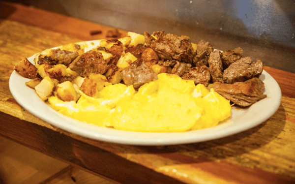 Marinated Sirloin Tips and Eggs