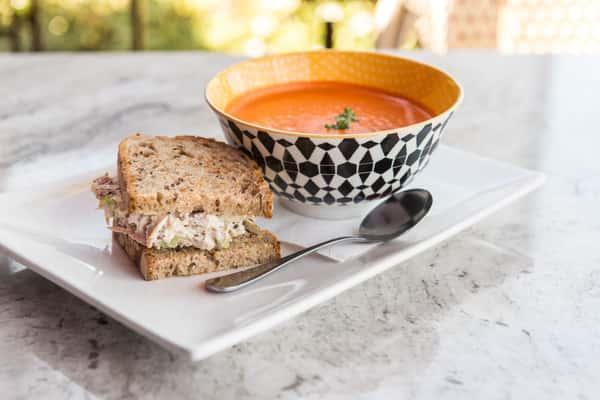 half sandwich and soup