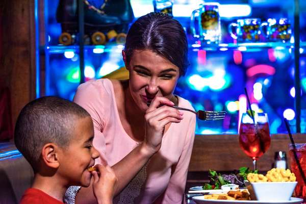 mom and son eating