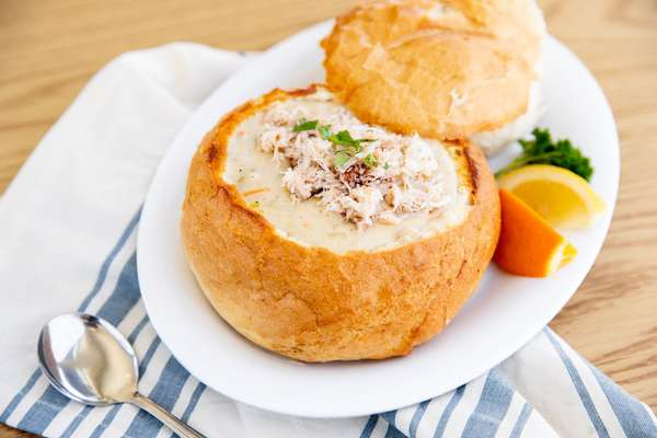 bread bowl with crab