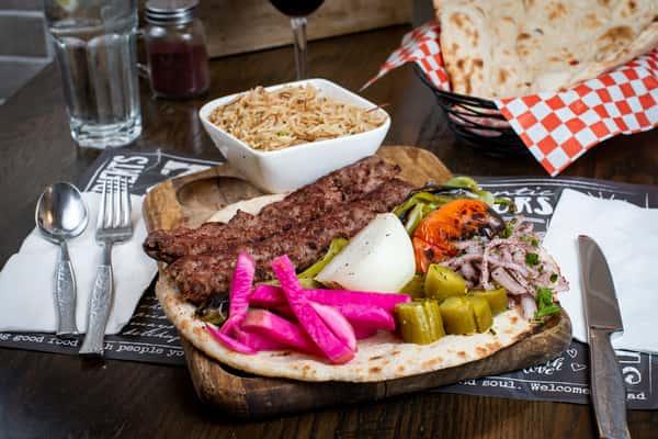 Kofta Kebab Plate, (Traditional Iraqi Kebab)