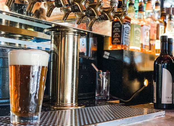 beer taps and beer glass