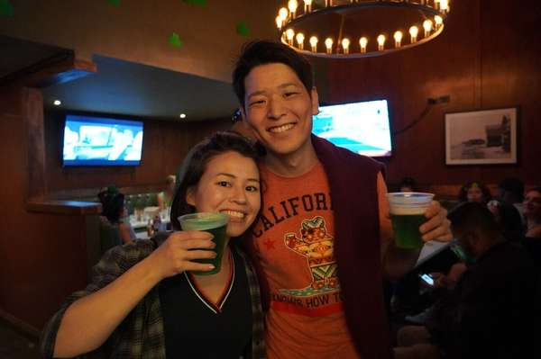 people with green beer