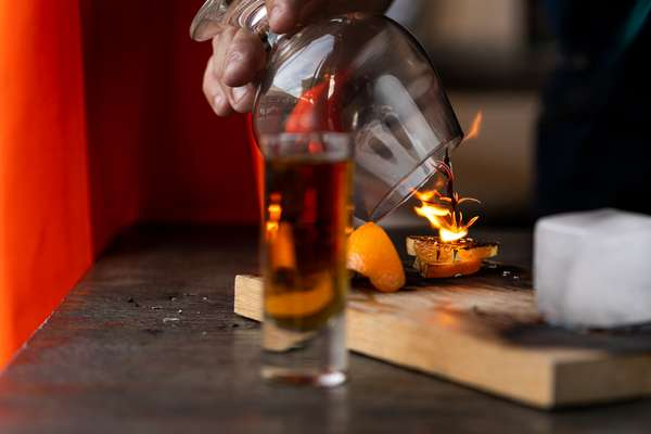 cocktail on fire