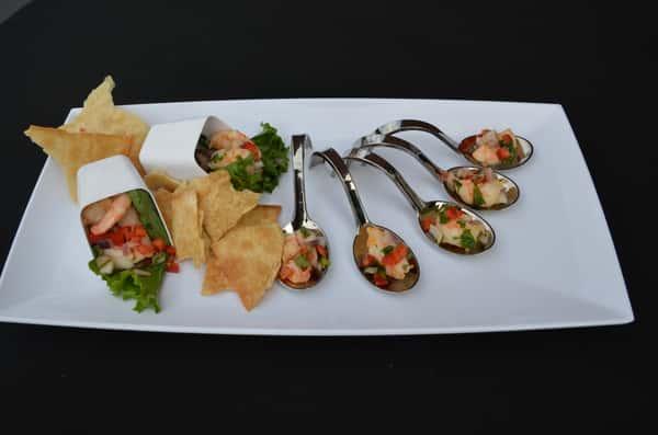 Shrimp Avocado Lime Ceviche With Pita