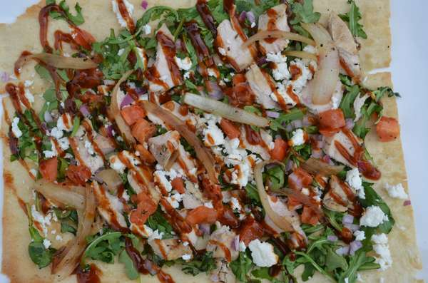 Flatbread BBQ Chicken Red Onions and Goat Cheese
