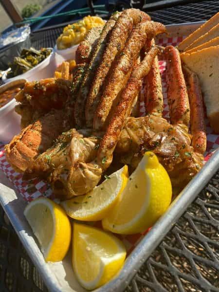 crab legs and lemon slices