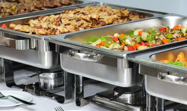 buffet serving dishes containing food