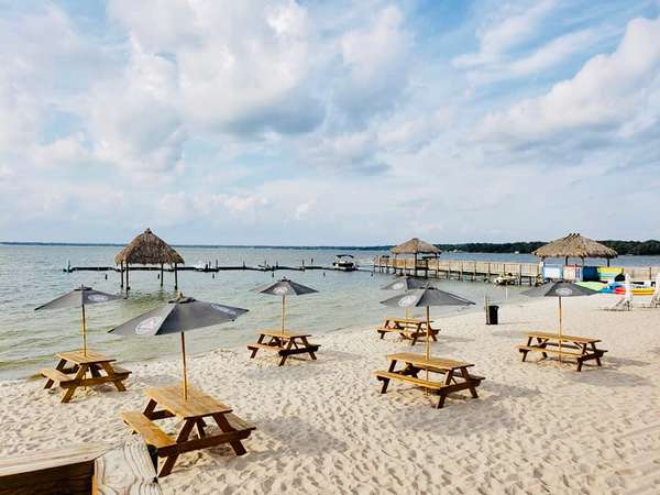 tables on the beach