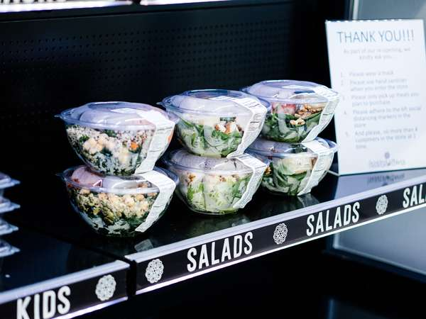 salads on a shelf