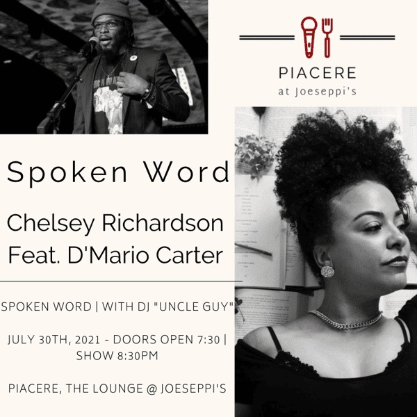 Chelsey Richardson and D'Mario Carter performing spoken word live at Joeseppi's Italian Ristorante in Tacoma, WA