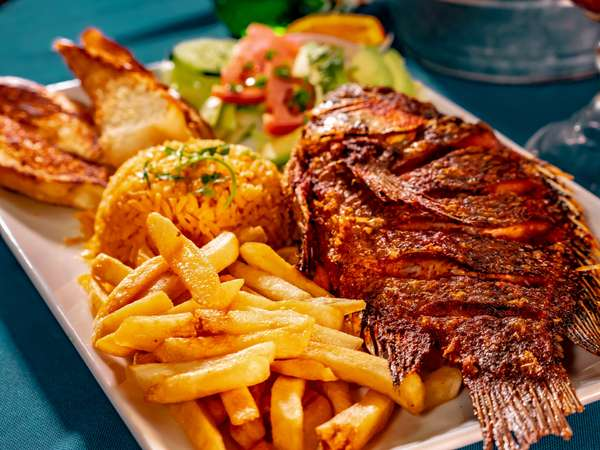 fish fries and rice