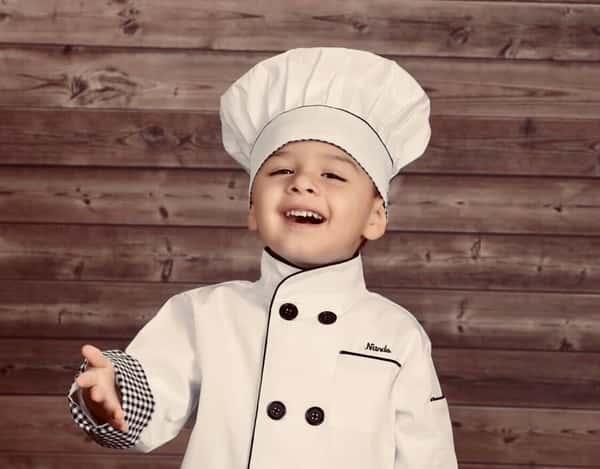 child in chef jacket