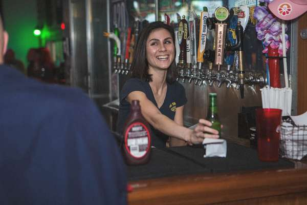 girl serving beer