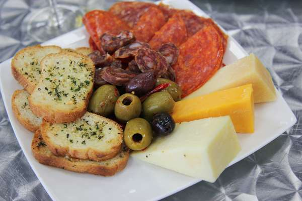 sausage bread olives and cheese
